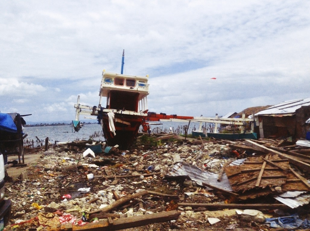 fishing boat thrust inland due to the storm surge after typhoon yolanda