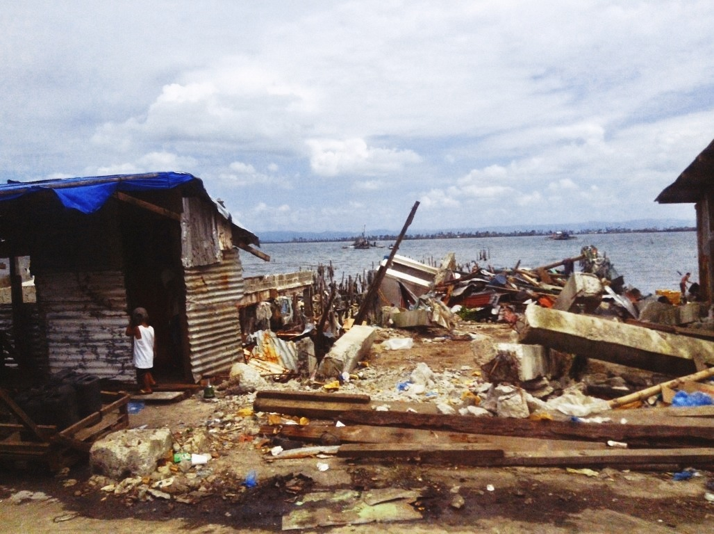houses near the no build zone in tacloban city after typhoon yolanda