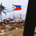 Philippine Flag in tacloban city after typhoon yolanda