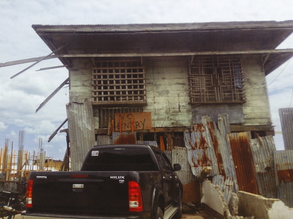 building that survived the storm surge in tacloban city after typhoon yolanda