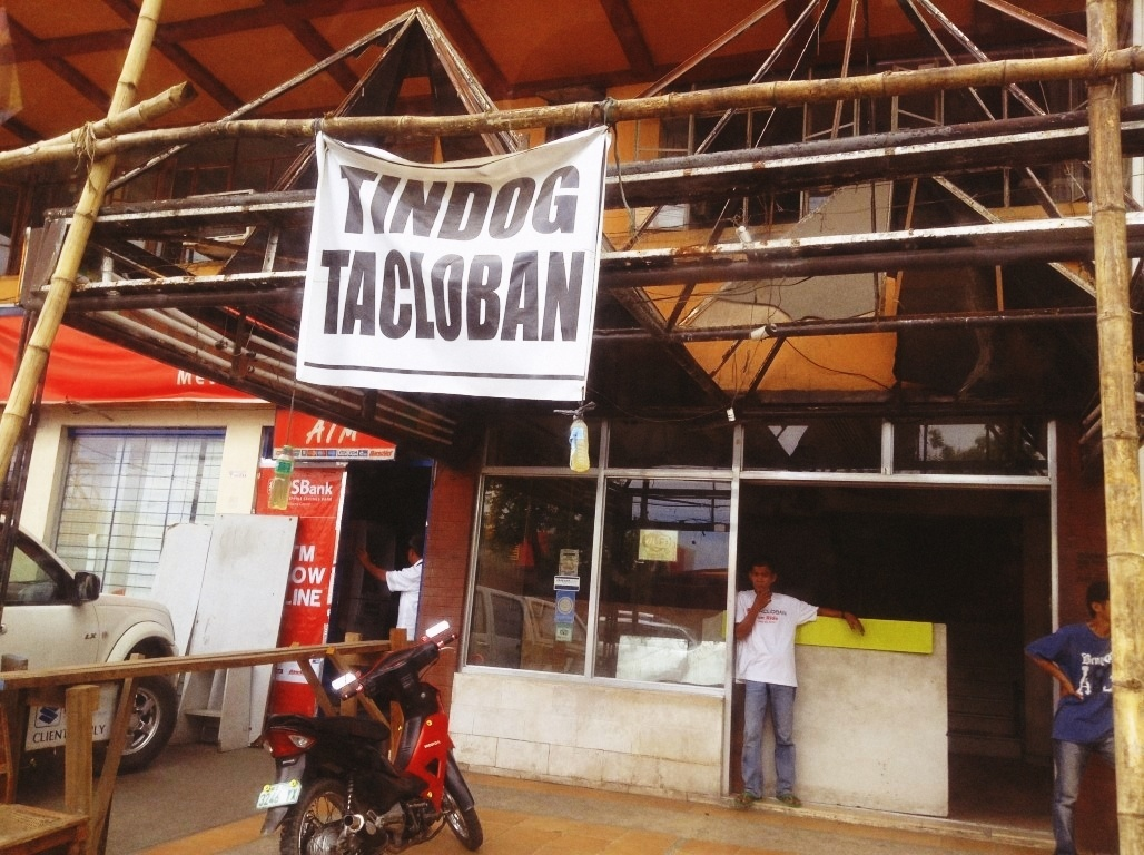 tindog tacloban signages after typhoon yolanda