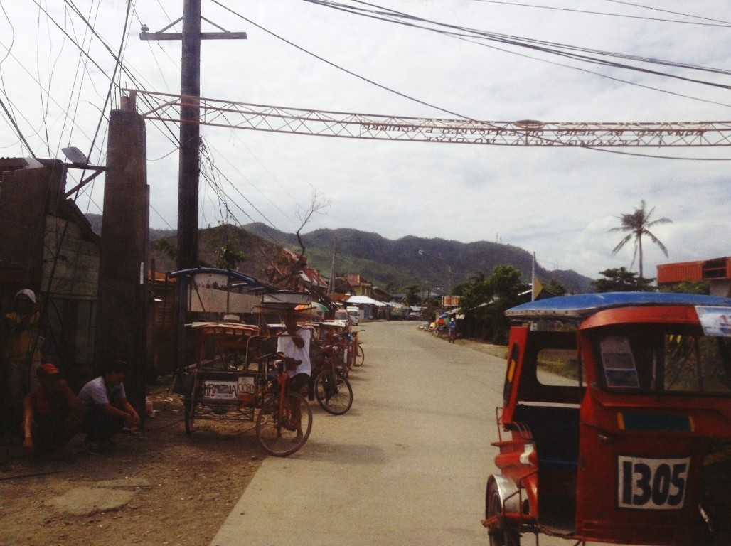 road in holy infant college after typhoon yolanda