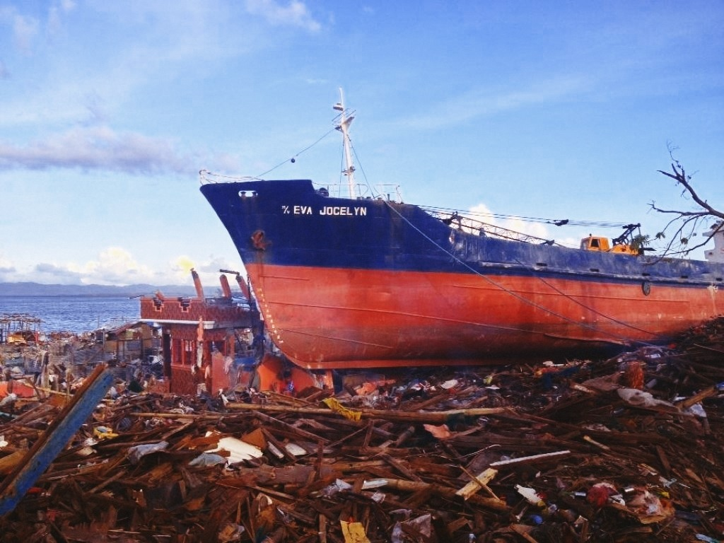 wrecked ship in tacloban city after typhoon yolanda