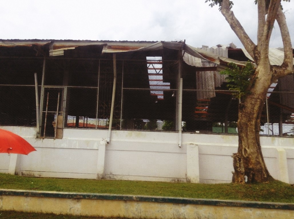Leyte Provincial Gym in Tacloban City after typhoon Yolanda