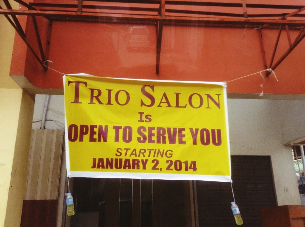 Trio Salon now open in tacloban City after typhoon Yolanda