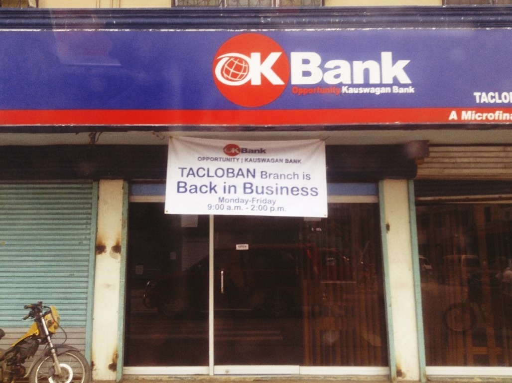 opportunity kauswagan bank in tacloban city reopens after typhoon yolanda