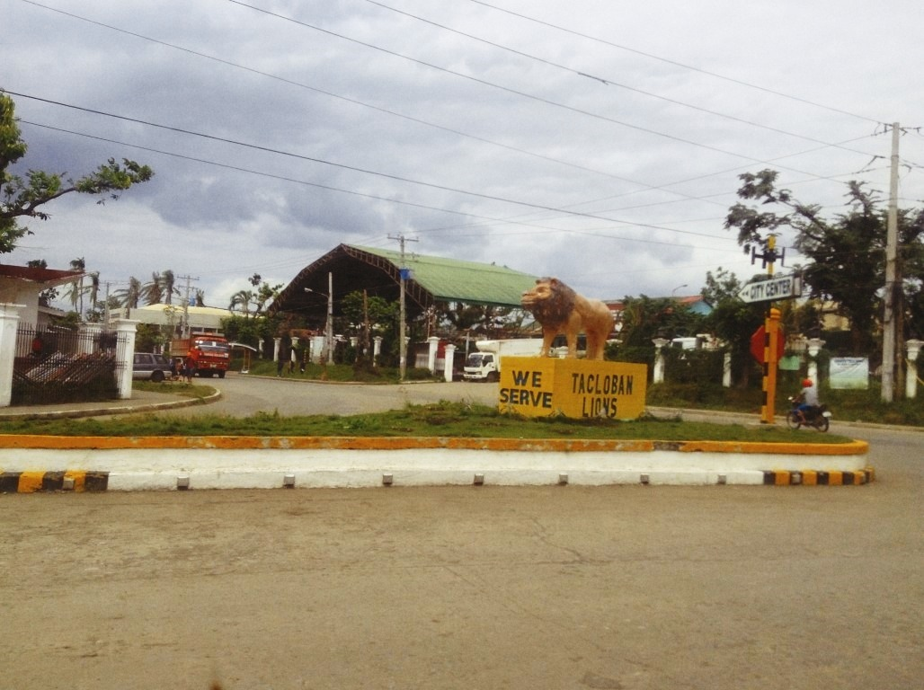 lions statue in tacloban city after typhoon yolanda